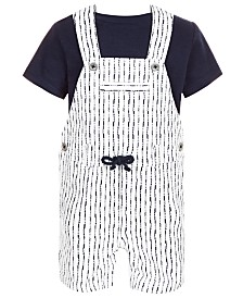 First Impressions Baby Boys 2-Pc. T-Shirt & Shibori Shortall Set, Created for Macy's