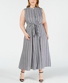 Calvin Klein Plus Size Cotton Gingham-Print Maxi Dress