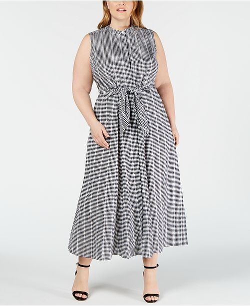 Calvin Klein Plus Size Cotton Gingham-Print Maxi Dress ...