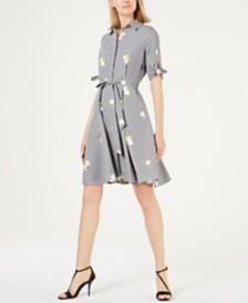 Calvin Klein Embroidered Gingham Shirtdress
