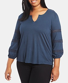 Trendy Plus Size Lace-Inset Top