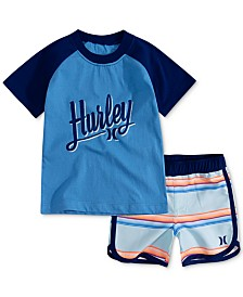 Hurley Baby Boys 2-Pc. T-Shirt & Striped Swim Trunks Set