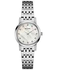 Women's Dress Diamond-Accent Stainless Steel Bracelet Watch 27mm