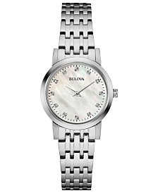 Bulova Women's Dress Diamond-Accent Stainless Steel Bracelet Watch 27mm