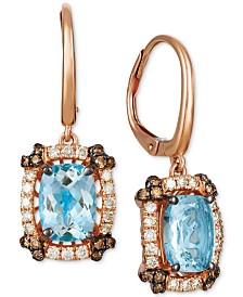 Le Vian® Sea Blue Aquamarine (2 ct. t.w.) & Diamond (1/2 ct. t.w.) Drop Earrings in 14k Rose Gold