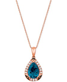 "Ocean Blue Topaz (2-5/8 ct.t.w.) & Diamond (1/3 ct. t.w.) 20"" Pendant Necklace in 14k Rose Gold"