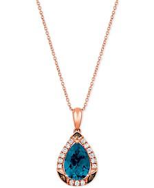 "Le Vian® Ocean Blue Topaz (2-5/8 ct.t.w.) & Diamond (1/3 ct. t.w.) 20"" Pendant Necklace in 14k Rose Gold"