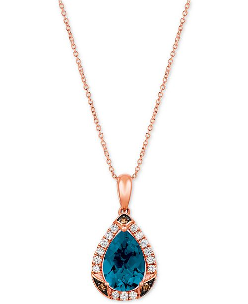 "Le Vian Ocean Blue Topaz (2-5/8 ct.t.w.) & Diamond (1/3 ct. t.w.) 20"" Pendant Necklace in 14k Rose Gold"