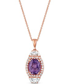 "Multi-Gemstone (2-3/8 ct. t.w) 20"" Pendant Necklace in 14k Rose Gold"