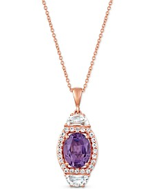 "Le Vian® Multi-Gemstone (2-3/8 ct. t.w) 20"" Pendant Necklace in 14k Rose Gold"