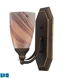1 Light Vanity in Aged Bronze and Creme Glass - LED Offering Up To 800 Lumens (60 Watt Equivalent)