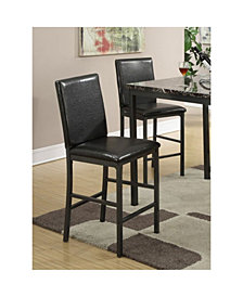 Benzara Faux Leather High Chairs with Foot Rest, Set of 2