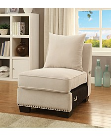 Nail Head Trim Fabric Upholstered Armless Chair with Pillow