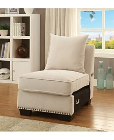 Benzara Nail Head Trim Fabric Upholstered Armless Chair with Pillow