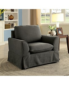 Benzara Welting Trim Fabric Upholstered Chair with Flared Arms