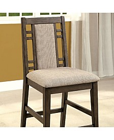 Benzara Transitional Style Counter Height Chair with Fabric, Set of 2