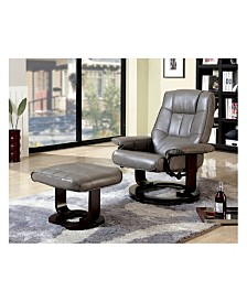 Benzara Multifunctional Swivel Lounger Chair with Ottoman