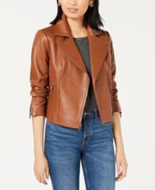 Maison Jules Leather Moto Jacket, Created for Macy's