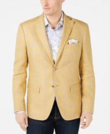 Tallia Orange Men's Slim-Fit Yellow/Gray Windowpane Linen Sport Coat