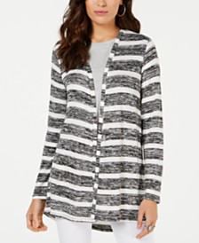 Style & Co Striped High-Low Cardigan, Created for Macy's