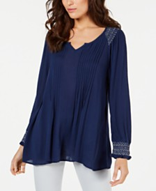 Style & Co Pintucked Smocked-Neck Top, Created for Macy's