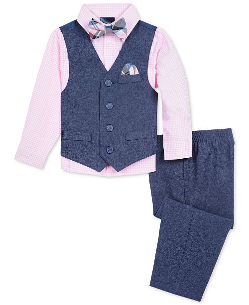 Nautica Little Boys 4-Pc. Heather Poplin Vest Set