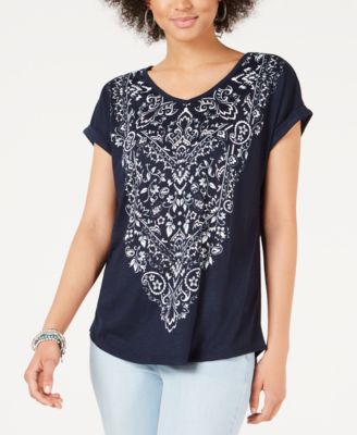 Graphic-Print V-Neck Top, Created for Macy's