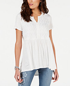 Style & Co Crochet-Bib High-Low Top, Created for Macy's