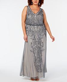 Plus Size Beaded Blouson Gown