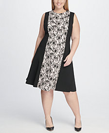 Tommy Hilfiger Plus Size Shadow Print Fit and Flare Dress