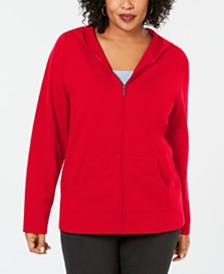 Karen Scott Plus Size Hoodie Jacket, Created for Macy's