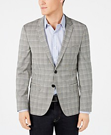 Men's Extra-Slim Fit Gray Plaid Sport Coat