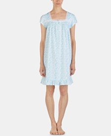 Eileen West Printed Eyelet Lace-Trim Jersey Knit Cotton Nightgown