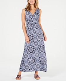Charter Club Printed V-Neck Maxi Dress, Created for Macy's