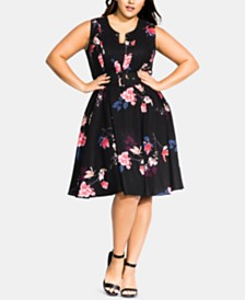 City Chic Plus Size Spring Lotus Dress