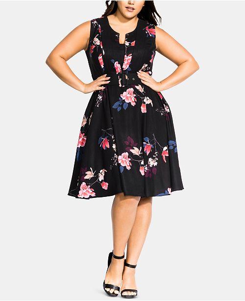 Plus Size Spring Lotus Dress
