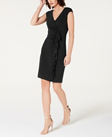 Connected Ruffle-Front V-Neck Bodycon Dress