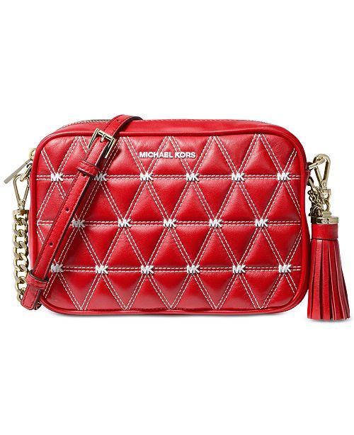 67aacdeed40 Michael Kors Logo Leather Studded Camera Bag & Reviews - Handbags ...