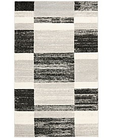 Retro Black and Light Gray 4' x 6' Area Rug