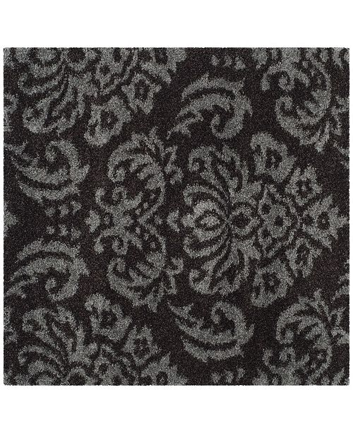 Safavieh Shag Dark Brown and Smoke 4' x 4' Square Area Rug
