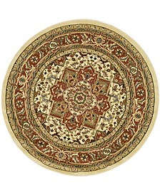 Lyndhurst Ivory and Rust 10' x 10' Round Area Rug