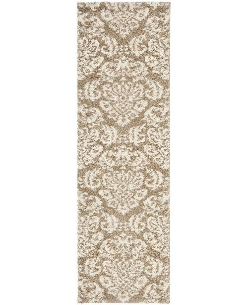 "Safavieh Shag Beige and Cream 2'3"" x 8' Runner Area Rug"