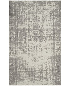"Classic Vintage Silver and Ivory 2'3"" x 8' Runner Area Rug"