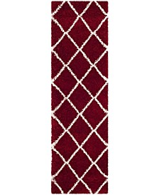 "Hudson Red and Ivory 2'3"" x 8' Runner Area Rug"