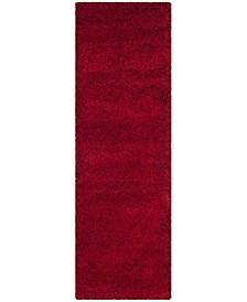 "Santa Monica Shag Red 2'3"" X 11' Runner Area Rug"