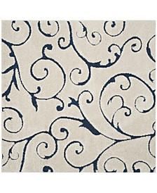 Shag Cream and Blue 5' x 5' Square Area Rug