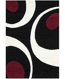 Shag Black and Ivory 4' x 6' Area Rug