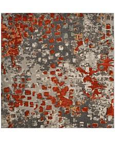Safavieh Monaco Gray and Orange 9' x 9' Square Area Rug