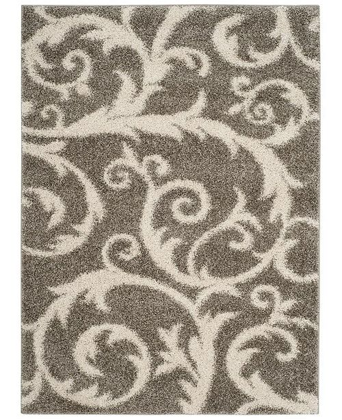 Safavieh New York Shag Light Grey 2' X 8' Runner Area Rug