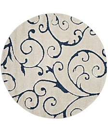 Shag Cream and Blue 9' x 9' Round Area Rug
